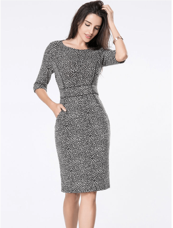 Graceful Round Neck Pocket Printed Bodycon Dres