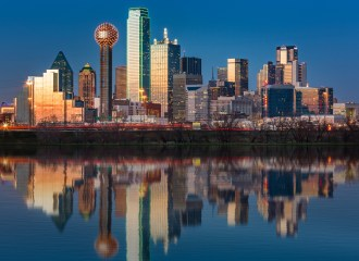 Dallas skyline reflected in Trinity River at sunset, A True P.I