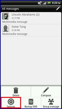 Configure Text and Picture Message Settings with the HTC
