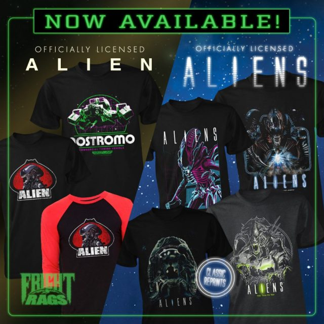 THE RETURN OF THE LIVING DEAD, ALIEN/ALIENS & SLEEPAWAY CAMP II: UNHAPPY CAMPERS Apparel from Fright-Rags