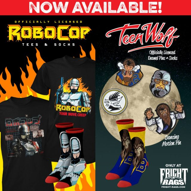 HOUSE OF 1000 CORPSES, NIGHT OF THE LIVING DEAD, ROBOCOP, TEEN WOLF & VAMPIRA Merchandise from Fright-Rags