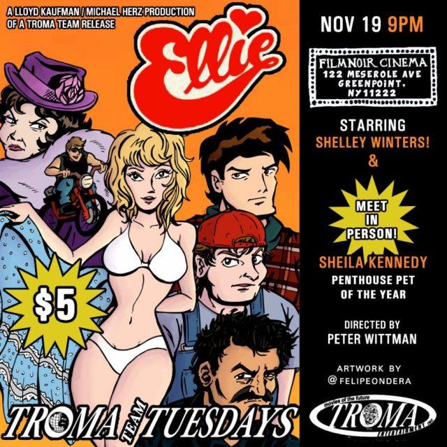 Troma Tuesdays: Rustic Revenge Comedy ELLIE Screening & Sheila Kennedy Q&A November 19th at Film Noir Cinema, NYC and The Grand Gerrard, Toronto!
