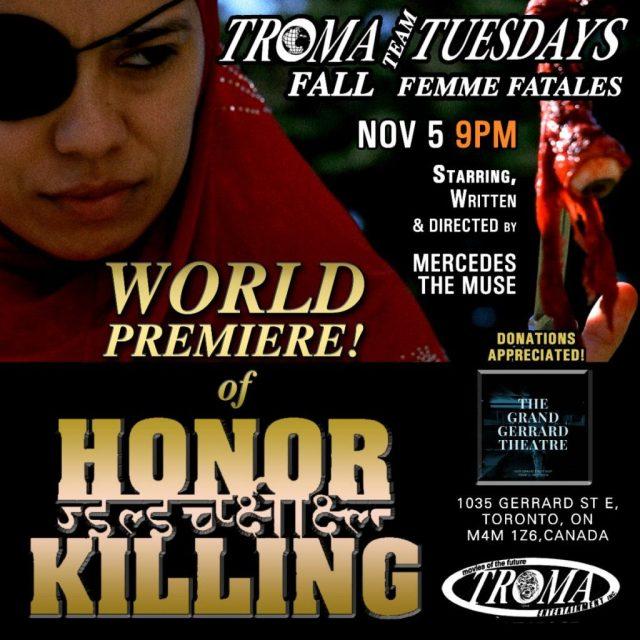 Troma Tuesdays: Femme Fatale Revenge Thriller HONOR KILLING Screening November 5th at Film Noir Cinema, NYC and The Grand Gerrard, Toronto!