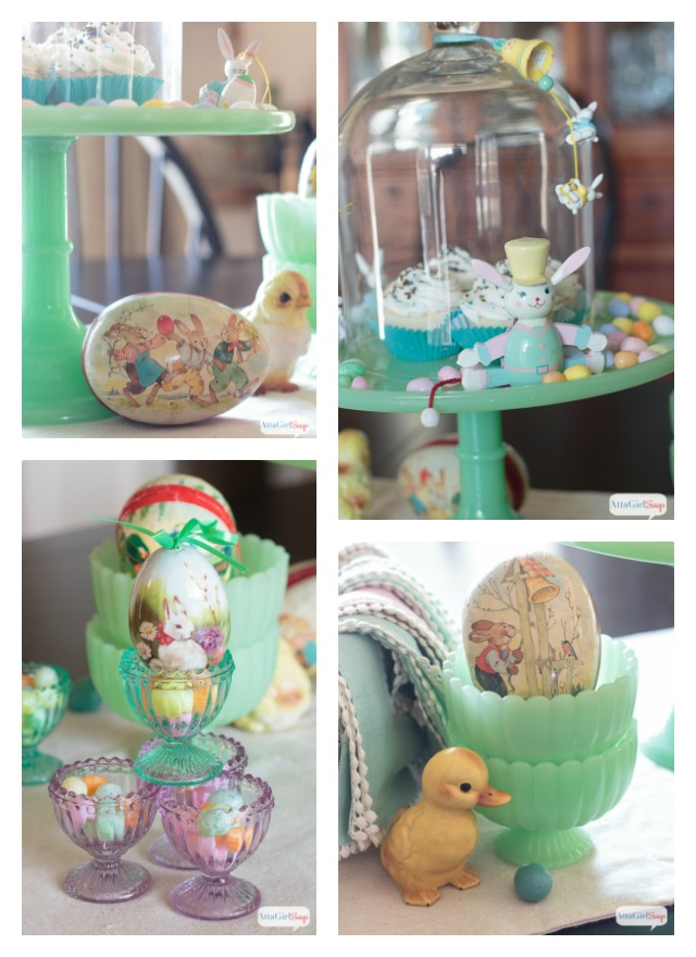 Decoration Stunning Home Design Ideas With Bright Themed And Nice Vintage Easter Decorations On Wooden