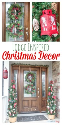 Christmas Door Decorations to Remind You of a Cozy Cabin