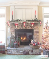 Stone Fireplace Decorated For Christmas - Home Decorating ...