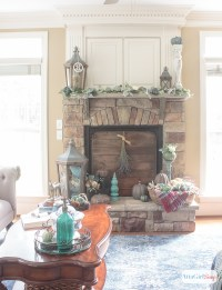Fireplace Mantel Decor in Jewel Tones for Autumn