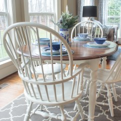 Diy Painted Windsor Chairs Tall Patio Table And Chair Cover Dining Don T Have To Take Forever Paint Farmhouse Style Stained Kitchen With White Legs