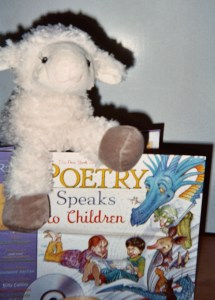 """Lucky Lamb looks like he'd love for a student to read him a poem!"""