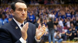 Coach K applauding his 2014-15 team before Duke played Army on Sunday, 11/3/14. Photo courtesy of www.wralsports.fan.com