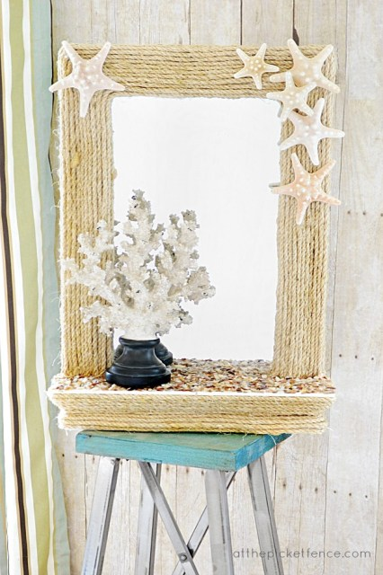 DIY Coastal Rope Mirror (10 Summer Seashell Decor Ideas)   #decor #decorating #seashells #beach #summer #sea