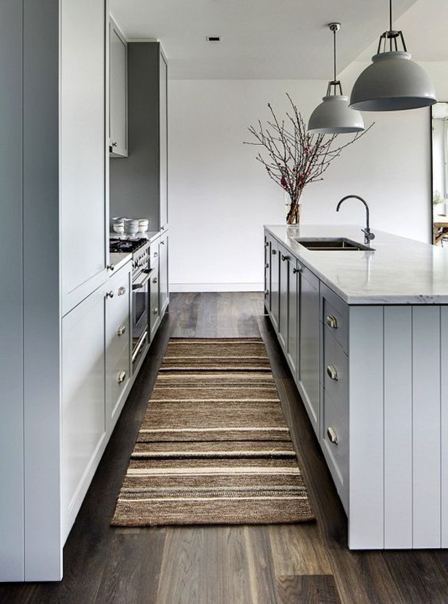 grey kitchen rugs lowes cabinet hardware taupe brown and cream textured runner domainehome via atticmag
