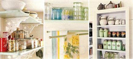 shelf details in the green retro cottage kitchen