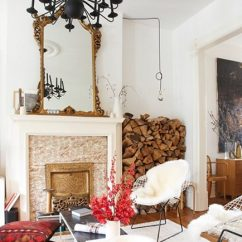 Living Room Firewood Holder How To Decorate A With No Fireplace Interior Storage Eclectic Niche Design Sponge Via Atticmag