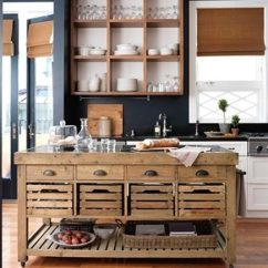 Kitchen Work Tables Taps Vintage Wood Table Stone Top Pine Island From Williams Sonoma Via Atticmag