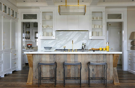 oak kitchen islands corner seating weathered wood island kitchens with vertical planks and crossbucks on the