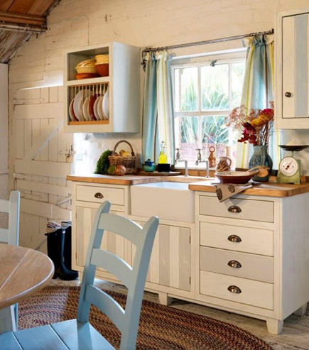 gray and white striped cottage kitchen sink base from the Steamer Bay collection  - John Lewis of Hungerford via Atticmag
