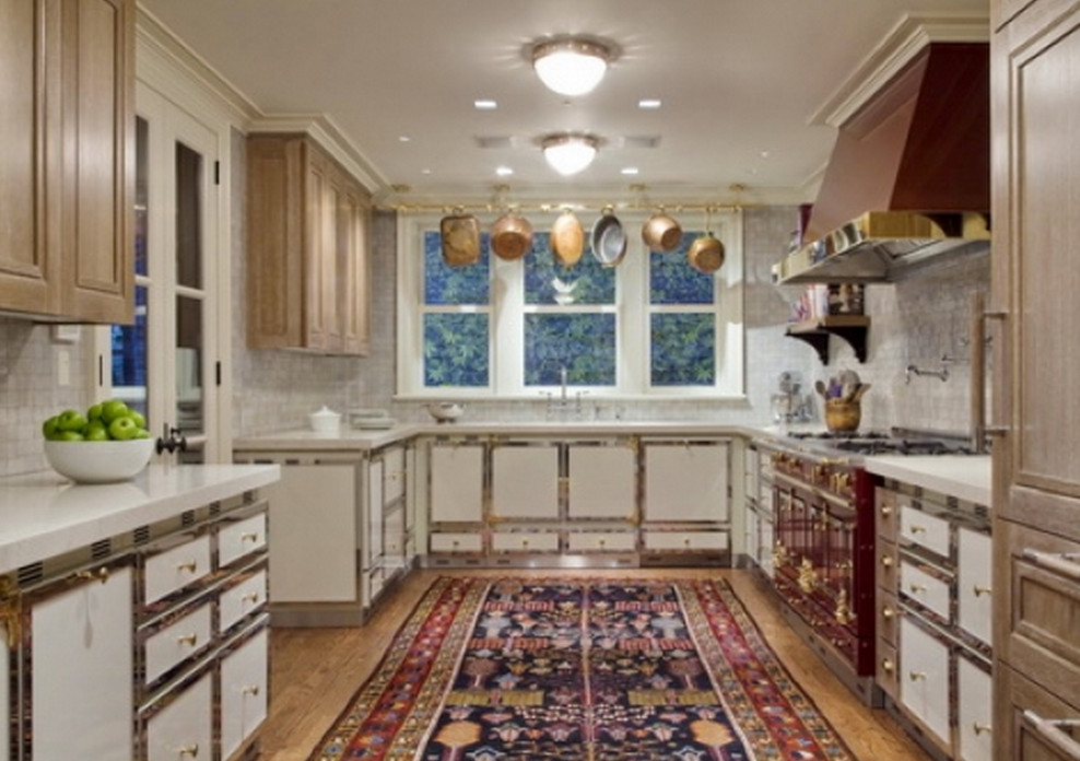 kitchen carpet cost of custom cabinets room size carpets atticmag oriental rug in a red and white la cornue