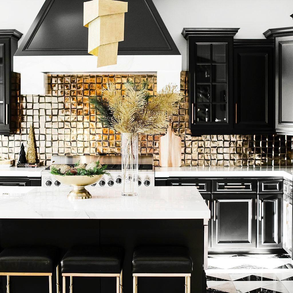 gold tile kitchen backsplash atticmag
