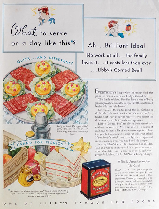 1932 Libby's Corned Beef Ad ~ Recipe File