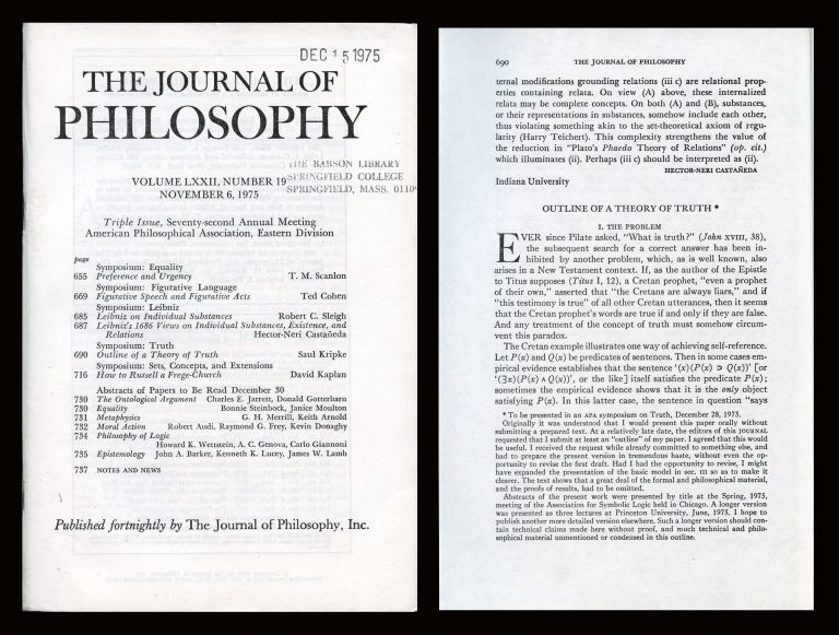 """""""Outline of a Theory of Truth"""" in The Journal of"""