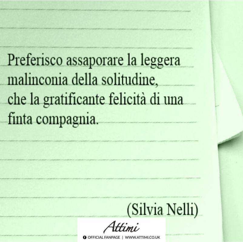 Preferisco assaporare la leggera malinconia della solitudine,che la gratificante felicità di una finta compagnia. ( Silvia Nelli )