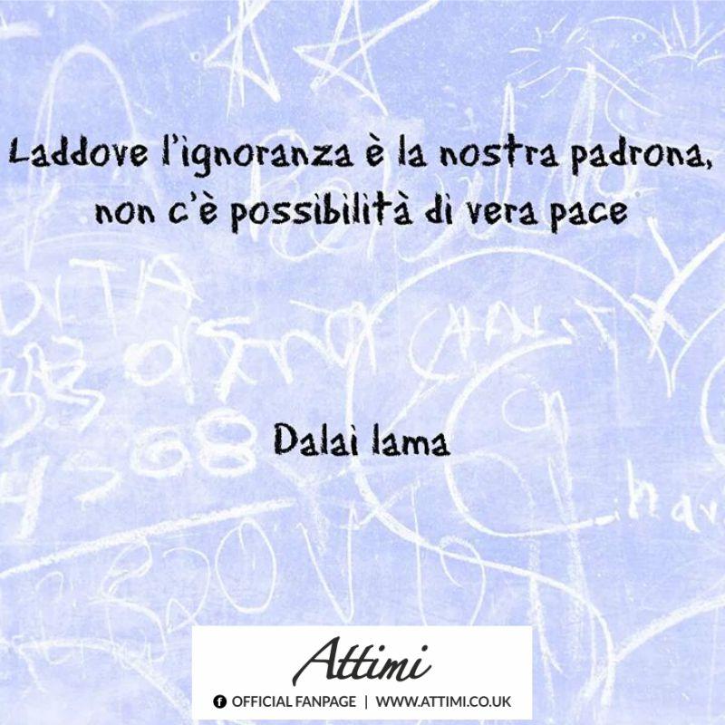 Laddove l'ignoranza è la nostra padrona, non c'è possibilità di vera pace. ( Dalai Lama )