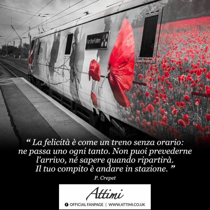 """""""La felicità è come un treno senza orario: ne passa uno ogni tanto. Non puoi prevederne l'arrivo, nè sapere quando ripartirà. Il tuo compito è andare in stazione."""" (F. Crepet)"""