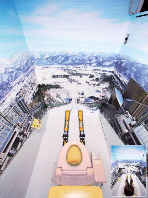 Il bagno con la pista da sci...per i più folli!