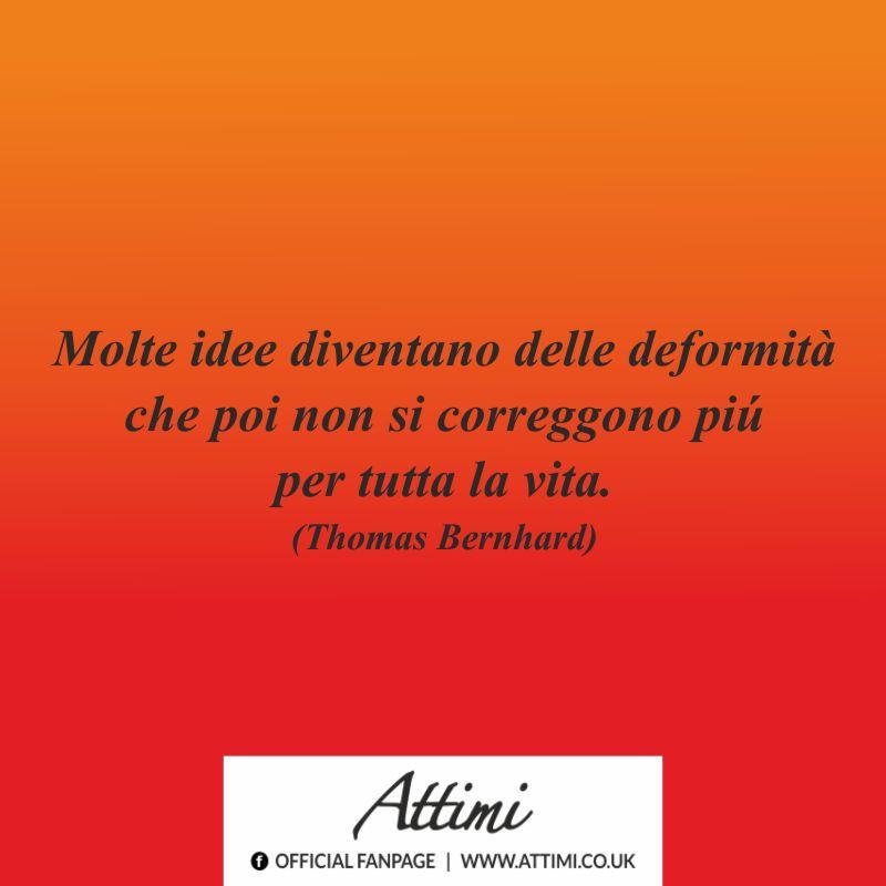 Molte idee diventano delle deformità che poi non si correggono più per tutta la vita. (Thomas Bernhard)