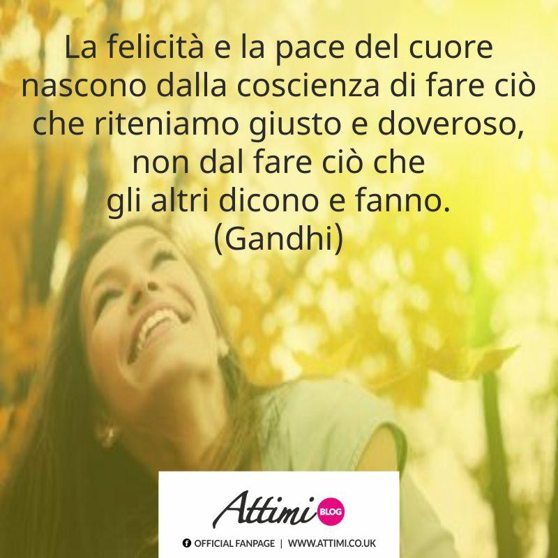 La felicità e la pace del cuore nascono dalla coscienza di fare ciò che riteniamo giusto e doveroso, non dal fare ciò che gli altri dicono e fanno. (Gandhi)