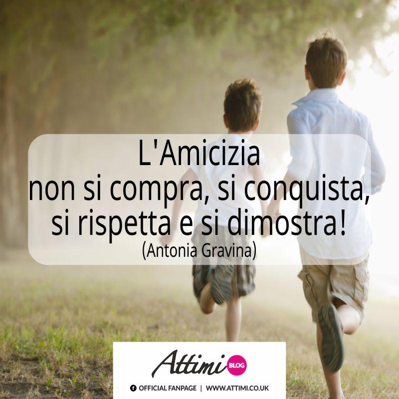 L'amicizia non si compra si conquista si rispetta e si dimostra. (Antonia Gravina)