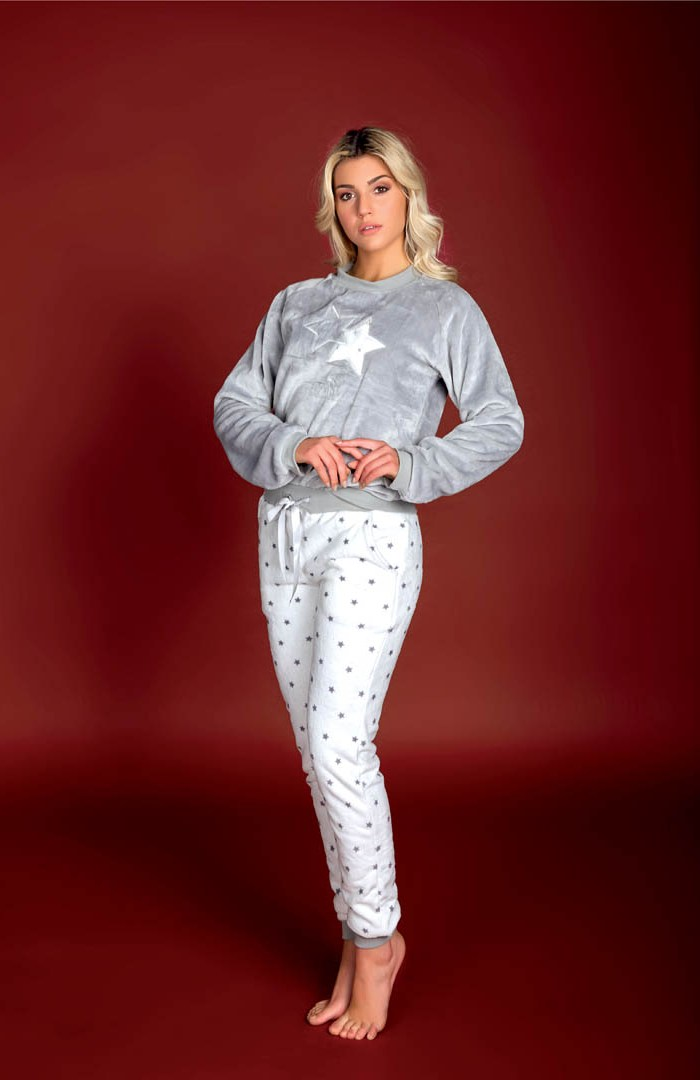 Pigiama Flanel Fleece pantalone all over - AT103C