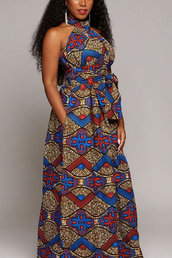 Ankara Print African dress | Round Neck Maxi Dress | MADI