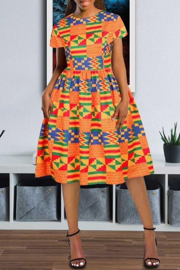 African Print Dress | Flare Midi Dress | Kay