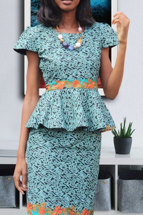 Ankara Print Dress | Peplum Midi dress | LENTI