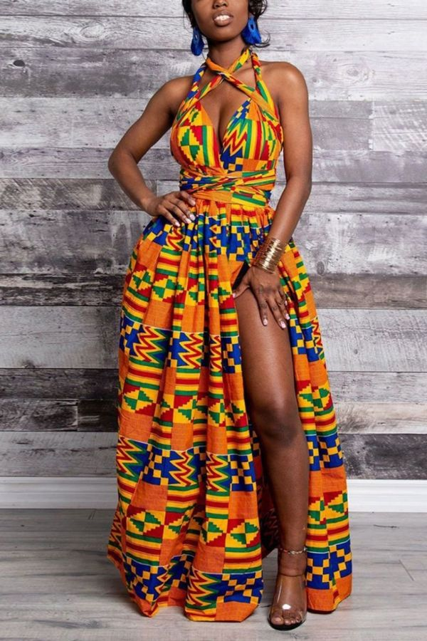 Kente Print Maxi Dress | Sleeveless Waist Knot | Marie