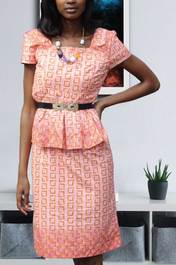 Ankara Print Dress | Peplum Midi dress | ROSA