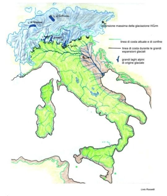 Fig. 5 - Ecco l'aspetto della penisola Italiana durante la fase più acuta del Würm.
