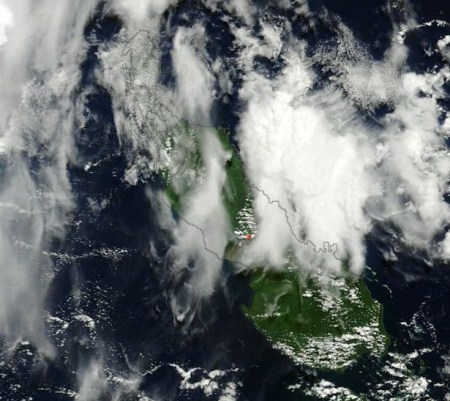 terra modis bagana aug 13 2014 thermal anomaly