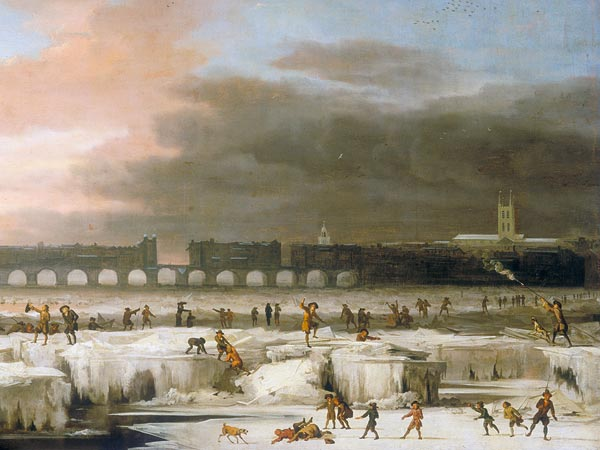 The Frozen River Thames (1677) in The Little Ice Age by Abraham Hondius