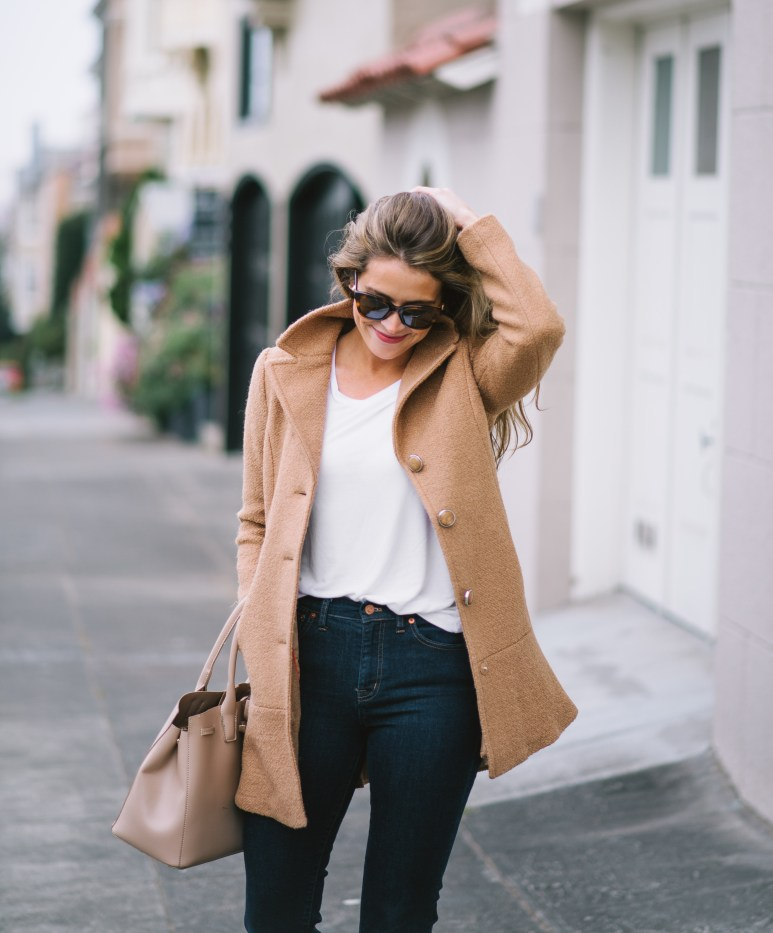 kensie coat, camel coat, fall coat, attn to detail, megan yazdani