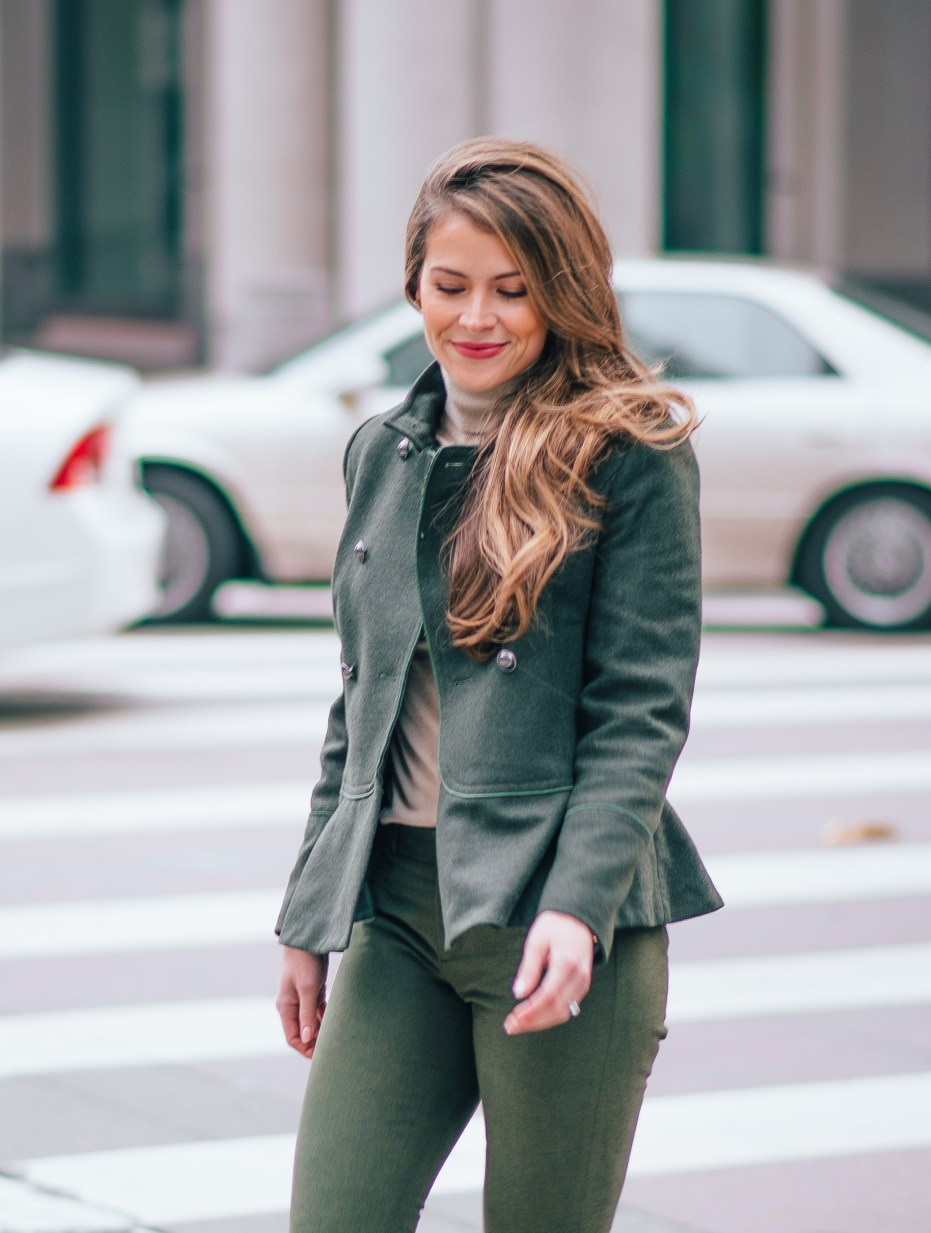 olive coat, banana republic womens coats, banana republic womens blazers, wool peplum hem coat, megan yazdani wearing banana republic, attention to detail