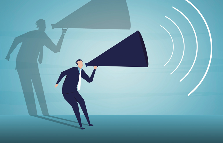 thought leadership man with megaphone