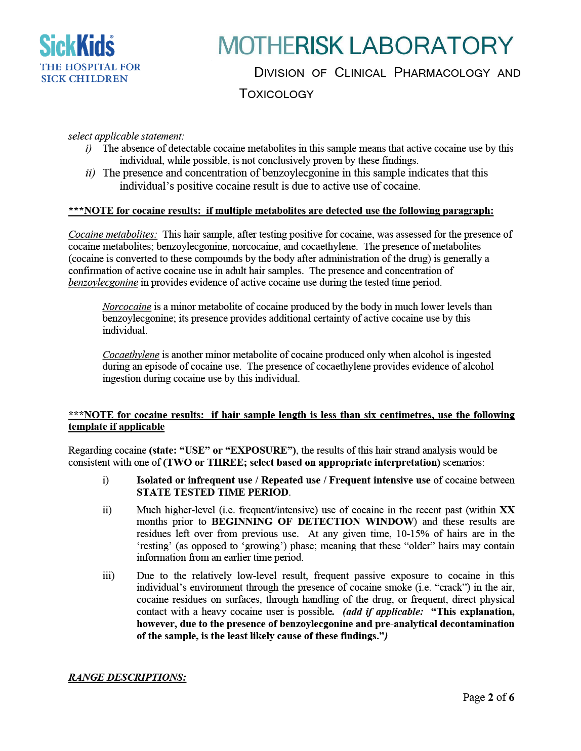 Report Of The Motherisk Hairysis Independent Review