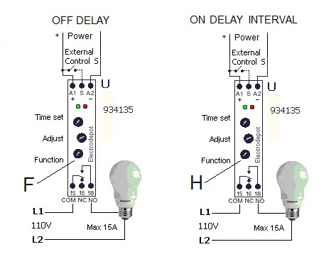 DIN timer latching relay toggle