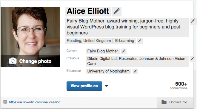 LinkedIn profile in edit mode