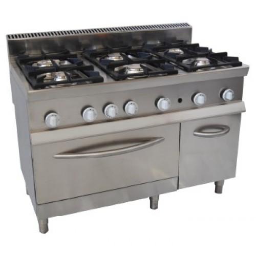 Cucina Professionale A Gas 6 Fuochi Con Forno A Gas Gn 21 Prof Cm 70