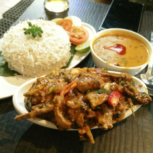 Flying Duck Duck with Rice and Legume Sauce