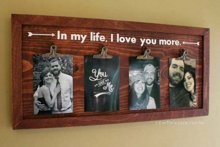 wood clip photo frame wall art